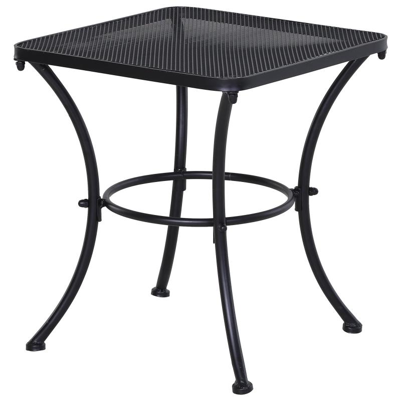 Outsunny Metal Square Outdoor Garden Bistro Table Black