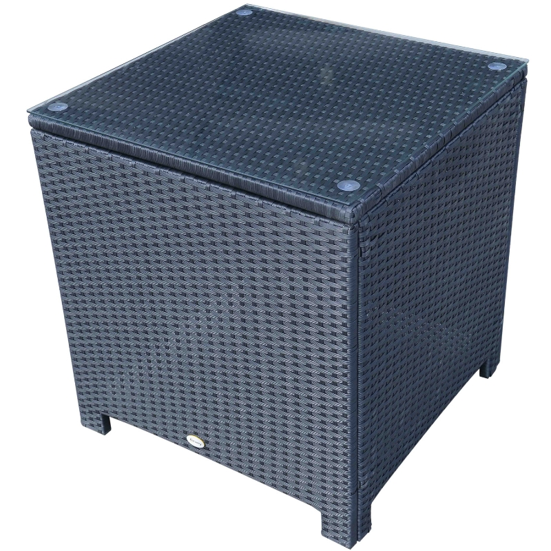 Outsunny Rattan Side Table-Black