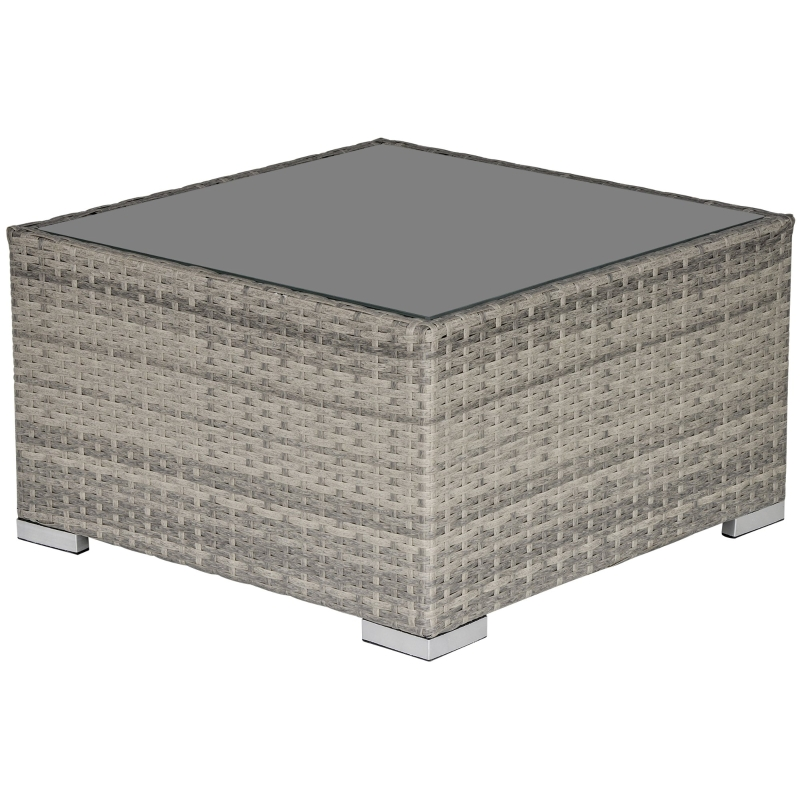 Outsunny Patio Wicker Coffee Table w/ Glass Top Furniture Suitable for Garden Backyard