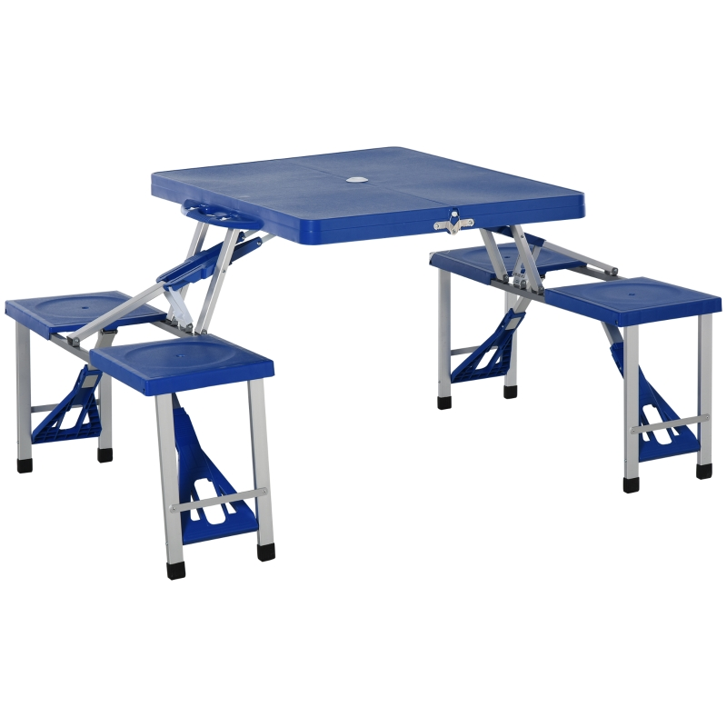 Outsunny 4 Seater Aluminum Portable Picnic Table with Foldable Seats Blue
