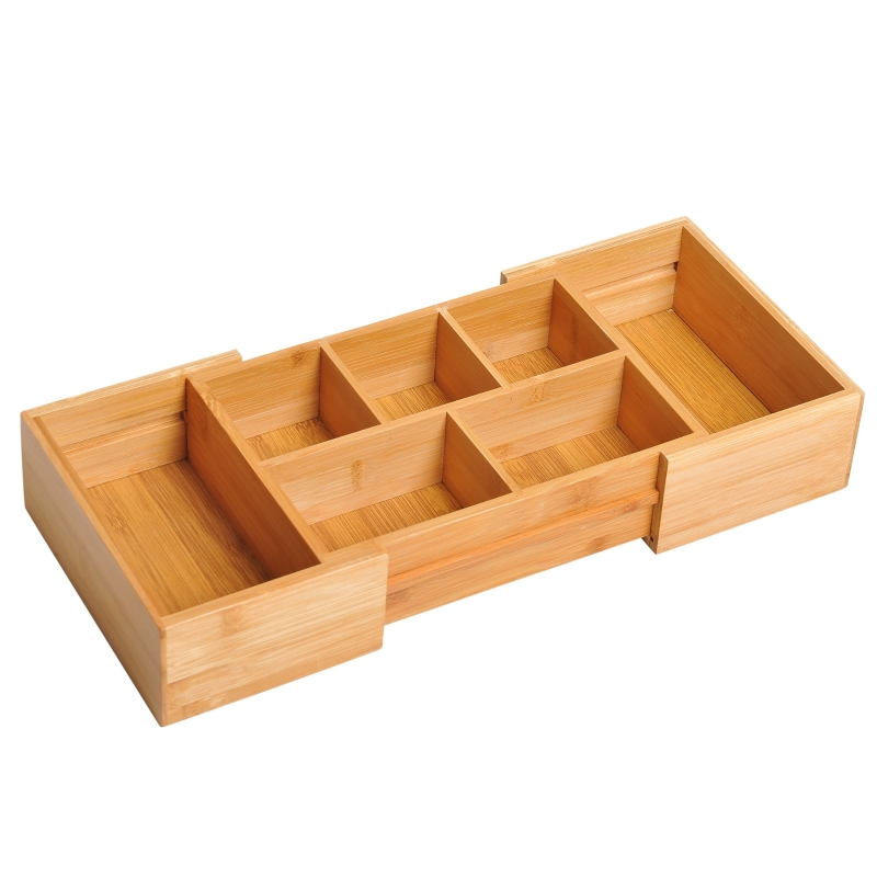 HOMCOM Bamboo Expandable Cutlery Tray Organiser Drawer Inserts Wooden Storage Holder Kitchen