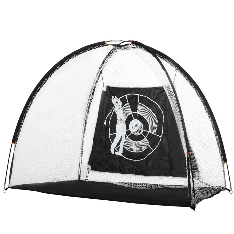 HOMCOM PE Net Golf Practice Hitting Target w/ Carrier Bag White