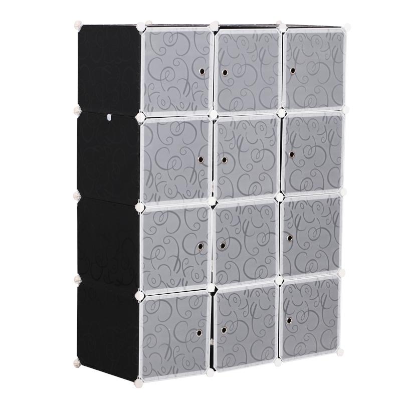 HOMCOM DIY Portable Wardrobe Closet, 111L x 47W x 145Hcm-Black/White