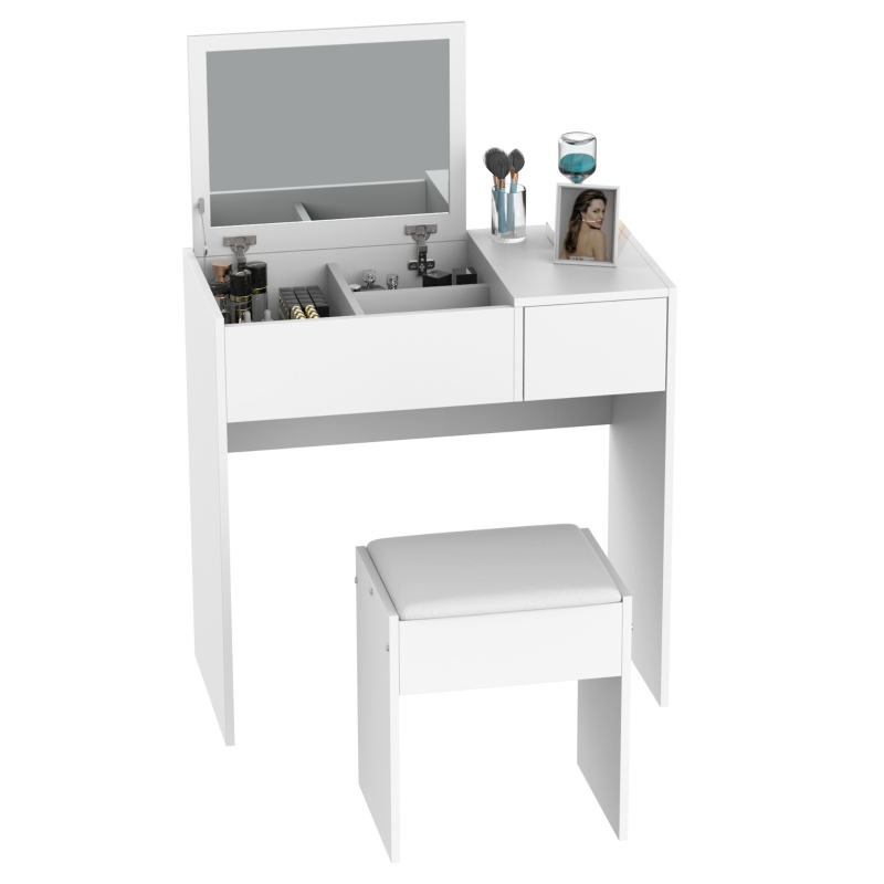 HOMCOM Dressing Table With  Flip-up Mirror and Padded Stool-White