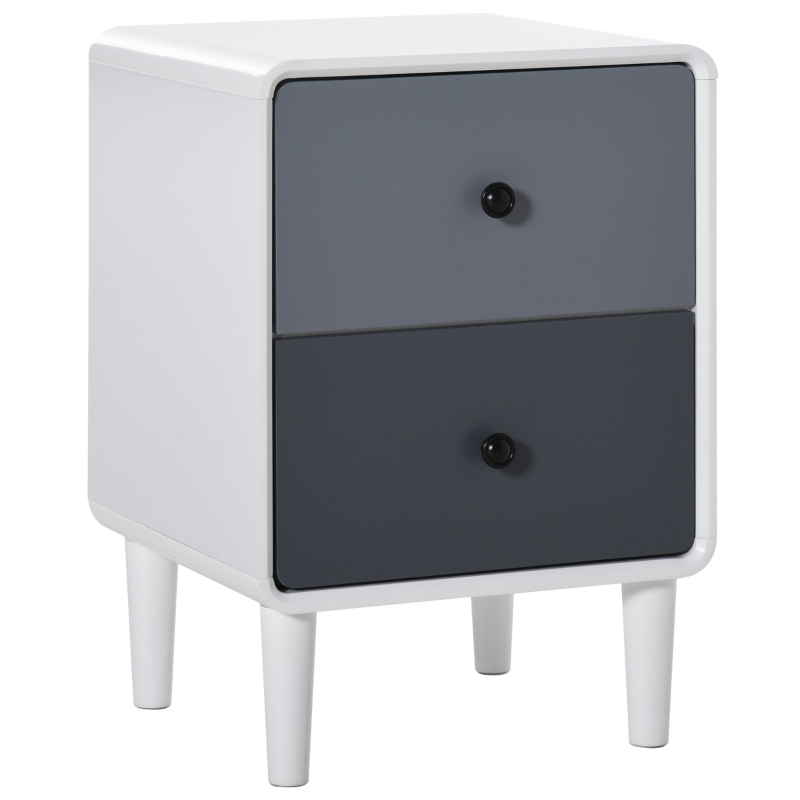 HOMCOM Nordic Side Cabinet Nightstand Organizer with Drawer for Bedroom, Living Room