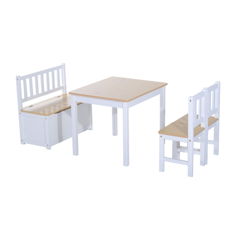 HOMCOM Pine Wood Kids 3 Pc Furniture Set-oak/White
