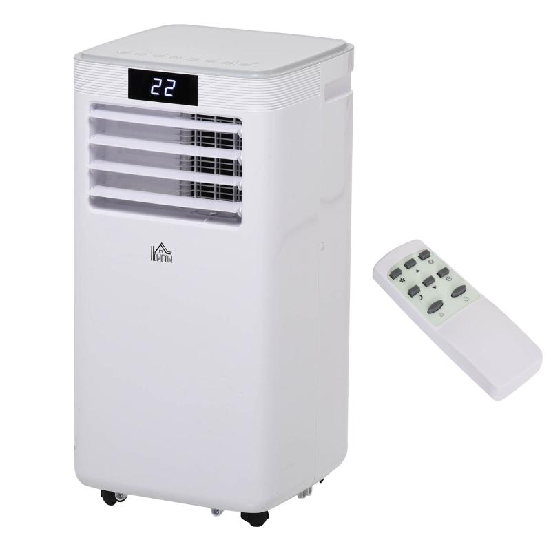 HOMCOM 8000BTU Portable Air Conditioner 4 Modes LED Display 24 Timer Home Office White