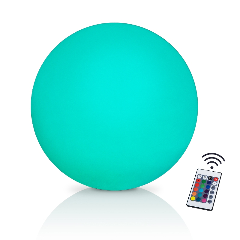 HOMCOM Ф30 x H29cm LED Ball Light 16 RGB Color Cordless Rechargeable Remote Control