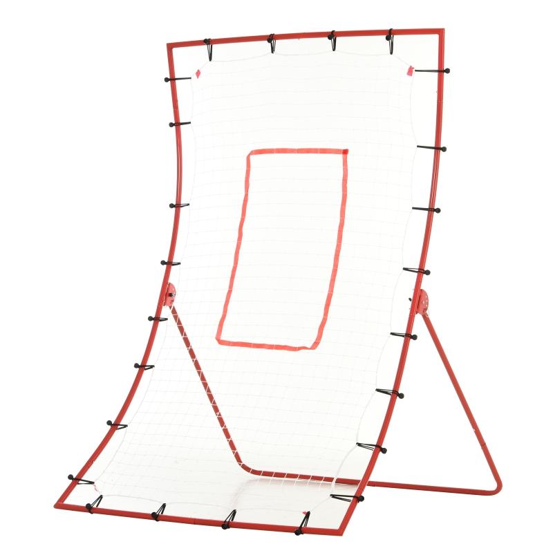 HOMCOM Steel Frame Adjustable 5-Angle Rebounder Goal Red/White