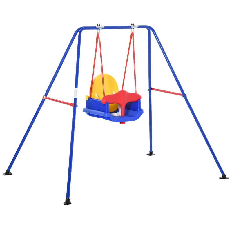 Outsunny Metal Swing Set with Baby Seat Safety Harness A-Frame Stand for Backyard
