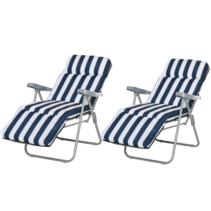 Outsunny 2Pc Folding Sun Loungers Set-Blue/White