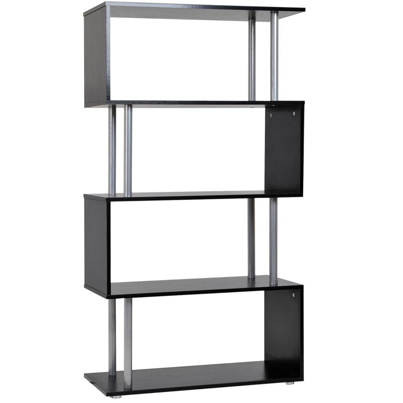 HOMCOM Particle Board S-Shaped Pillar Bookshelf Wooden Bookcase Bookshelf Dividers Storage Display Unit - Black