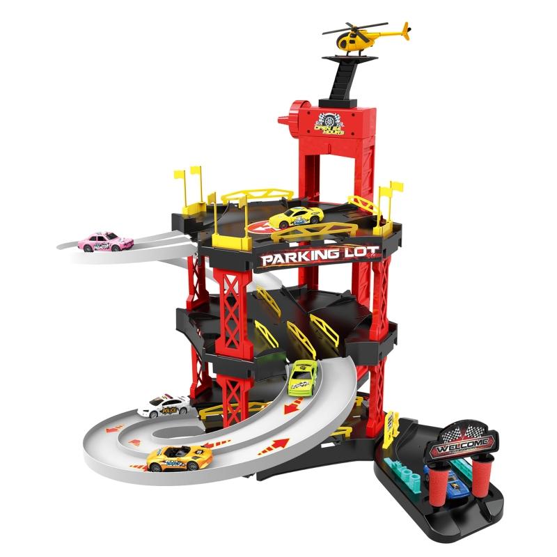 HOMCOM Kids 3-Level PP Parking Lot Race Playset Red/Black