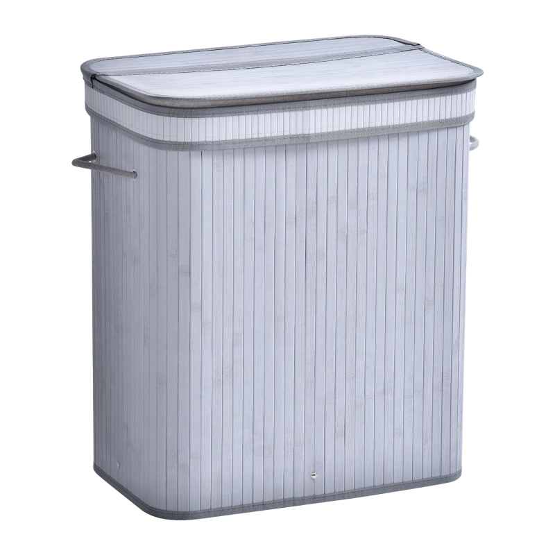 HOMCOM 100L Flip Lid Bamboo Laundry Basket Grey