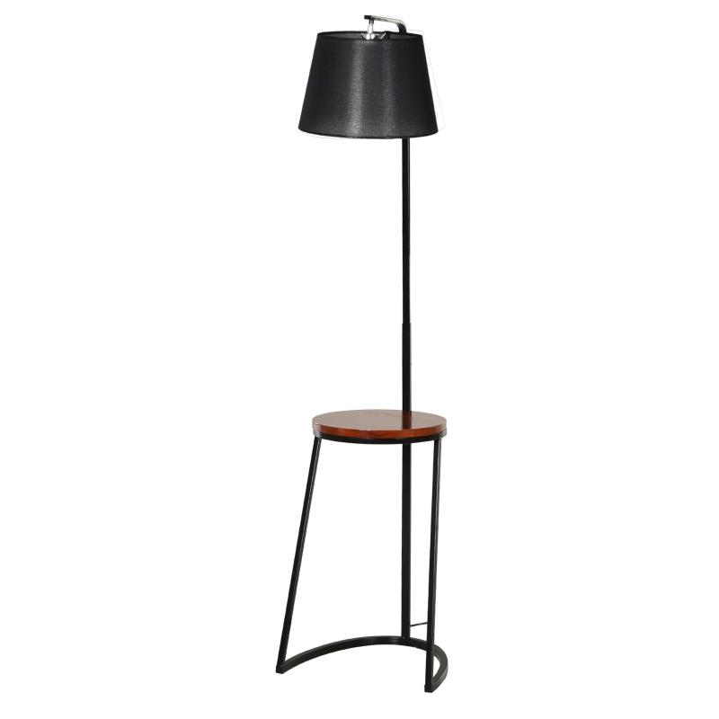 HOMCOM Steel Middle Shelf Floor Lamp Black