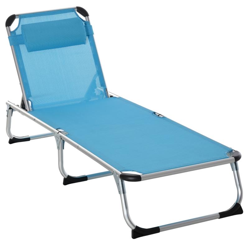 Outsunny Folding Outdoor Reclining Sun Lounger Chair w/ Pillow Aluminium Frame Blue