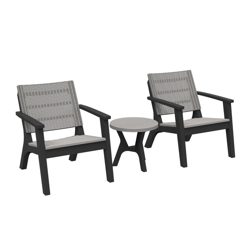 Outsunny 3 PCs Rattan Bistro Set Furniture Arm Chair Table for Patio Porch