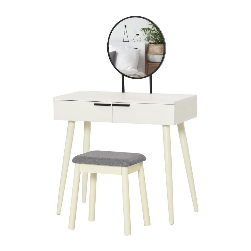 HOMCOM Vanity Table Set Dressing Desk w/ Cushioned Stool Drawer Makeup Table White