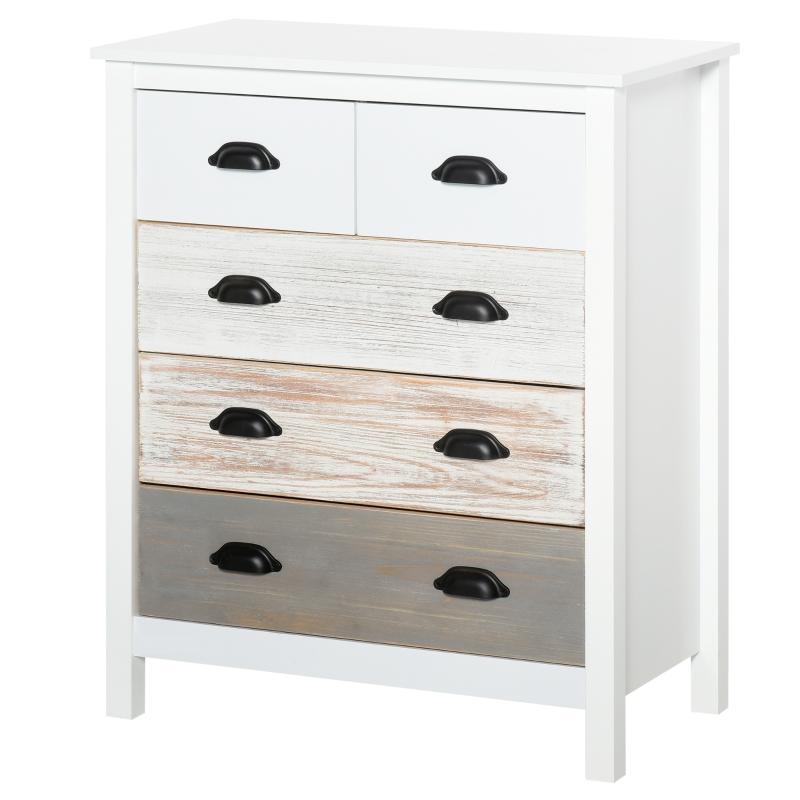 HOMCOM Side Cabinet Home Organizer with 5 Storage Drawer Unit for Bedroom, Living Room