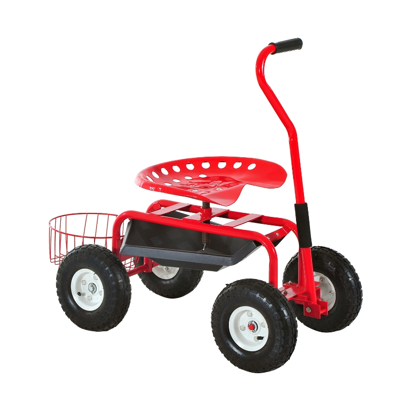 Outsunny Gardening Planting Rolling Cart W/Tool Tray-Red