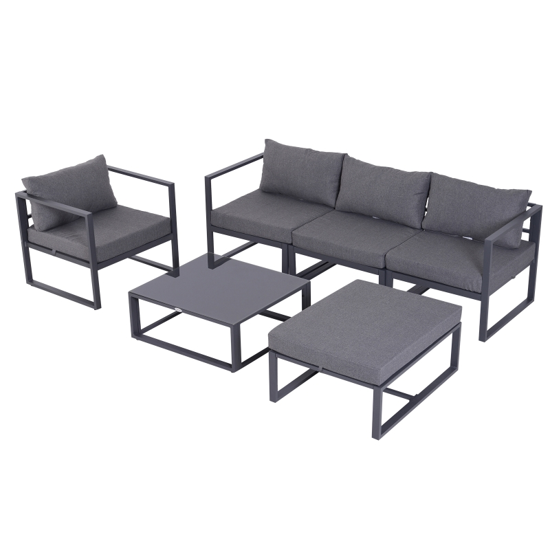 Outsunny 6pcs Garden Sectional Sofa Set Aluminum Frame Coffee Table Footstool w/ Cushions