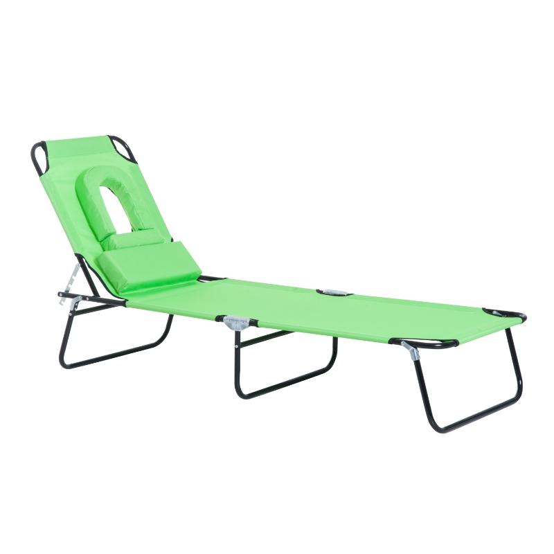 Outsunny Sun Lounger Recliner W/Pillow-Green