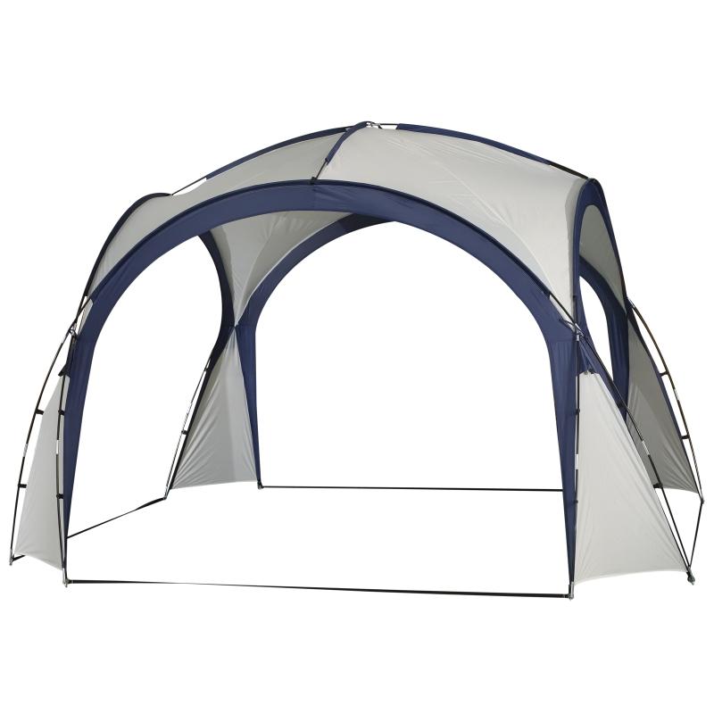 Outsunny Gazebo Party Tent, 3.5x3.5m-Cream/Blue