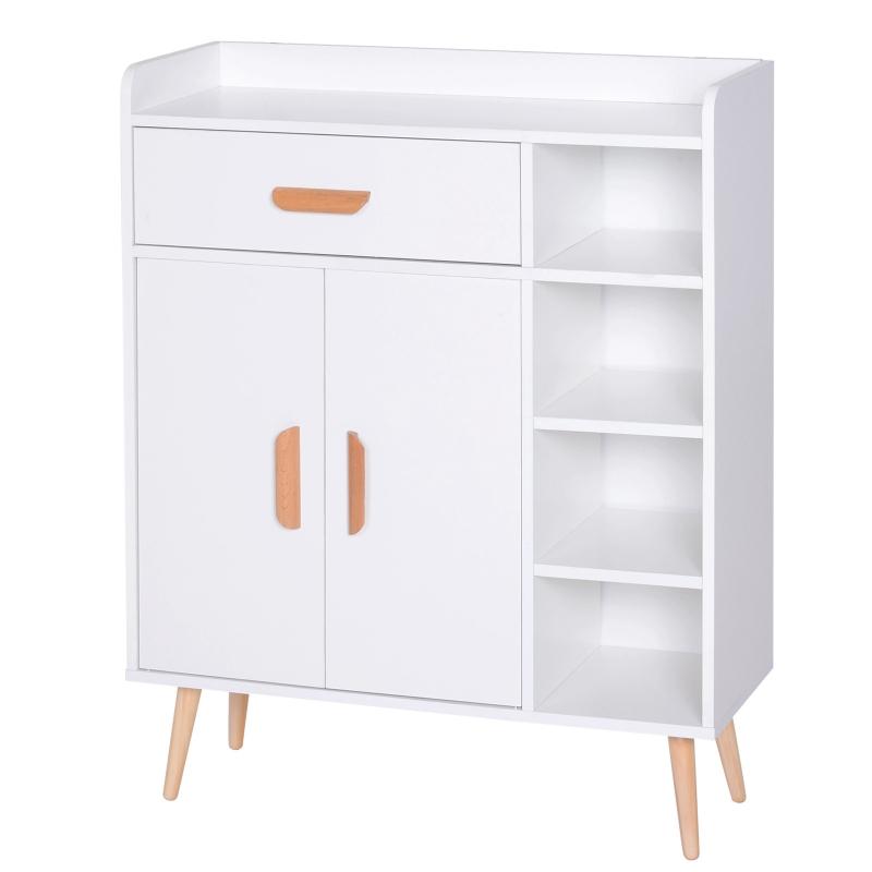 HOMCOM Hallway Side Cabinet Storage Unit Pine Wood, 80L x 29.5W x 96Hcm-White