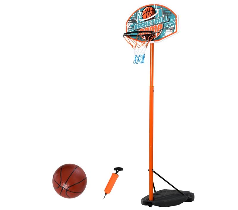 HOMCOM Kids Freestanding Metal Basketball Hoop w/ Ball Orange