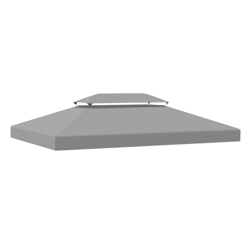 Outsunny 3x4m Gazebo Replacement Roof Canopy 2 Tier Top UV Cover Garden Patio Light Grey