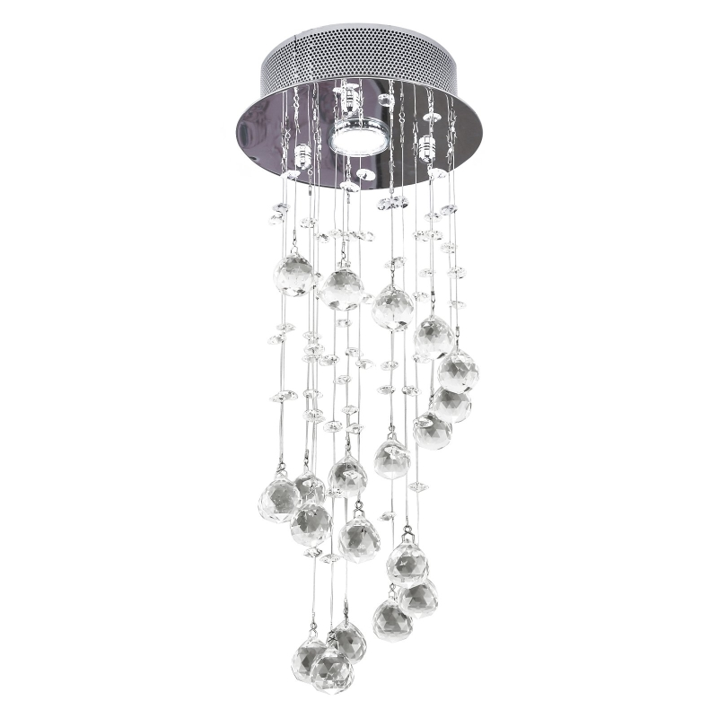 HOMCOM Crystal Ceiling  Chandelier, Spiral Rain Drop-Silver/Crystal