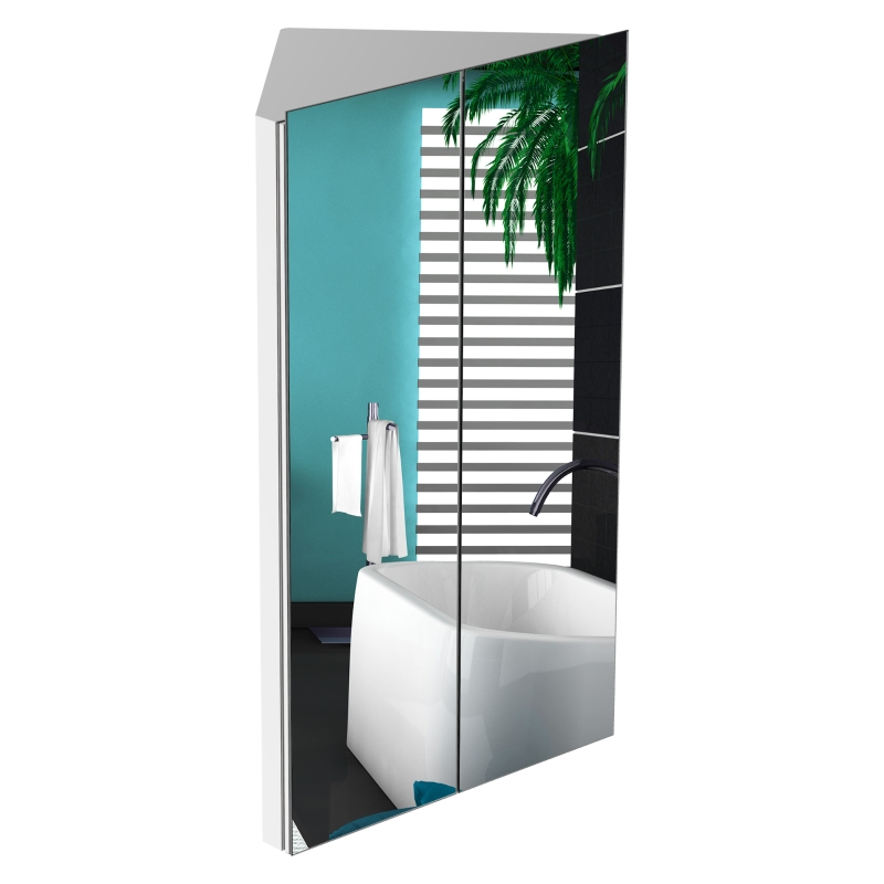kleankin Stainless Steel Wall Mounted Corner Bathroom Mirror Cabinet