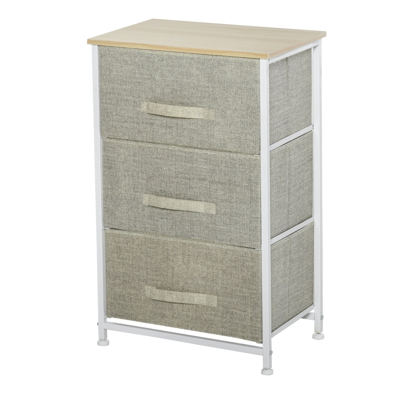 HOMCOM 3-Tier Drawer Cabinet Organizer with Metal Frame for Home Office White Oak