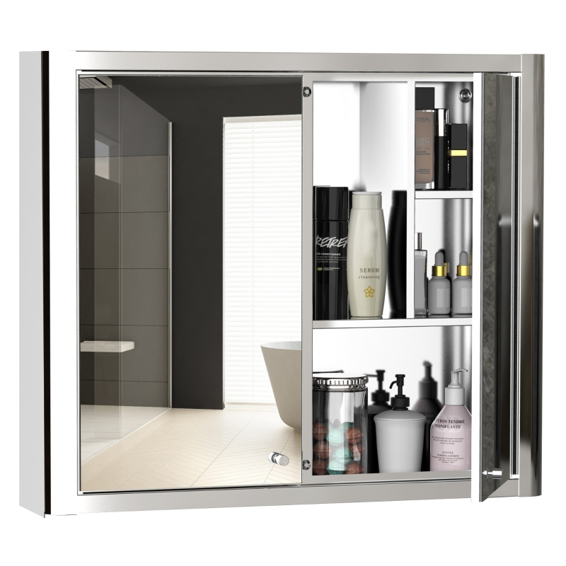 kleankin Bathroom Mirror Cabinet Wall Mount Storage Cupboard W/ Double Door and Shelf