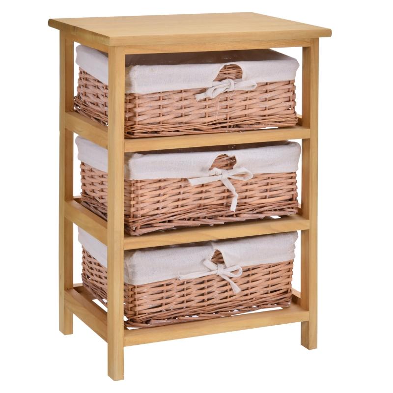 HOMCOM Wicker 3-Tier Storage Basket Shelf Brown
