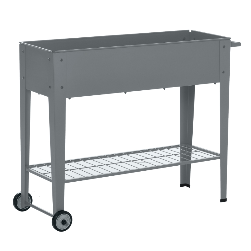 Outsunny Raised Garden Bed with Wheels and Bottom Shelf Outdoor 104 x 39 x 80cm