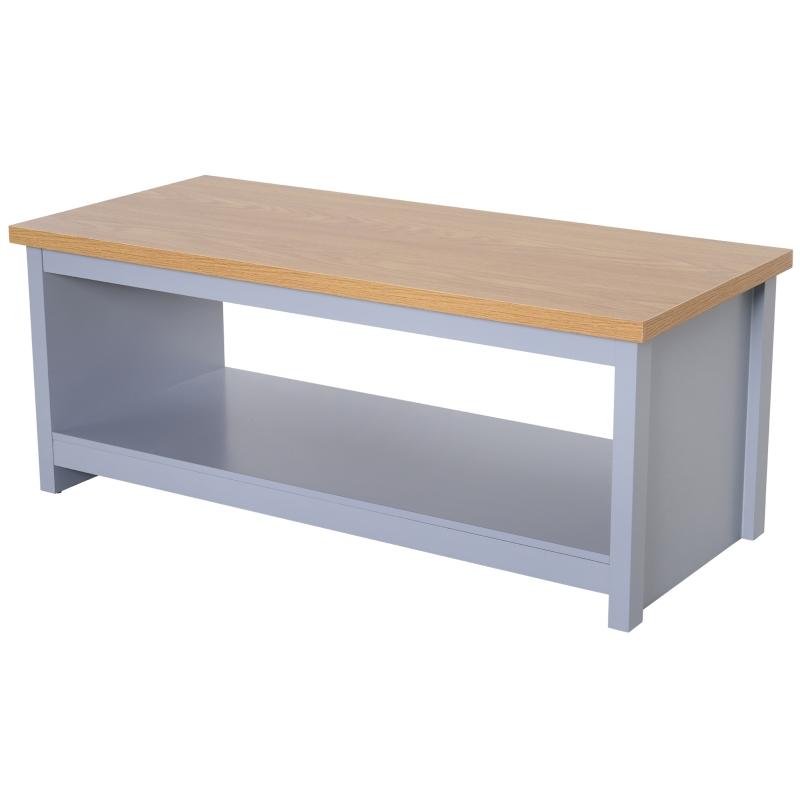 HOMCOM MDF Rustic Rectangular Coffee Table Grey