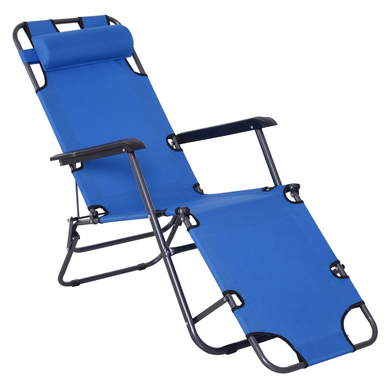 Outsunny Metal Frame 2 In 1 Sun Lounger w/ Pillow Blue