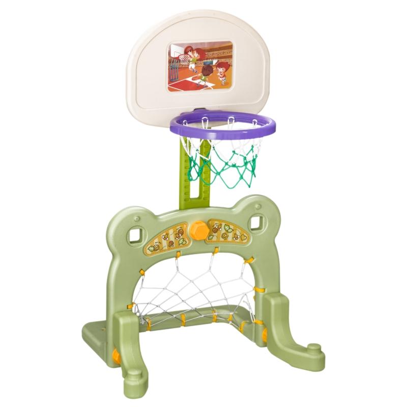 HOMCOM 2 in 1 Sport Center Basketball Hoop Stand Soccer Net Toddler Activity Toy Game