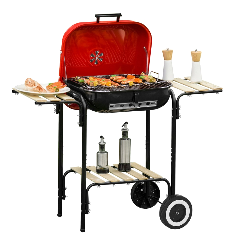 Outsunny Charcoal Portable Grill Portable W/Wheels, 98Lx49Wx81H cm-Black/Red