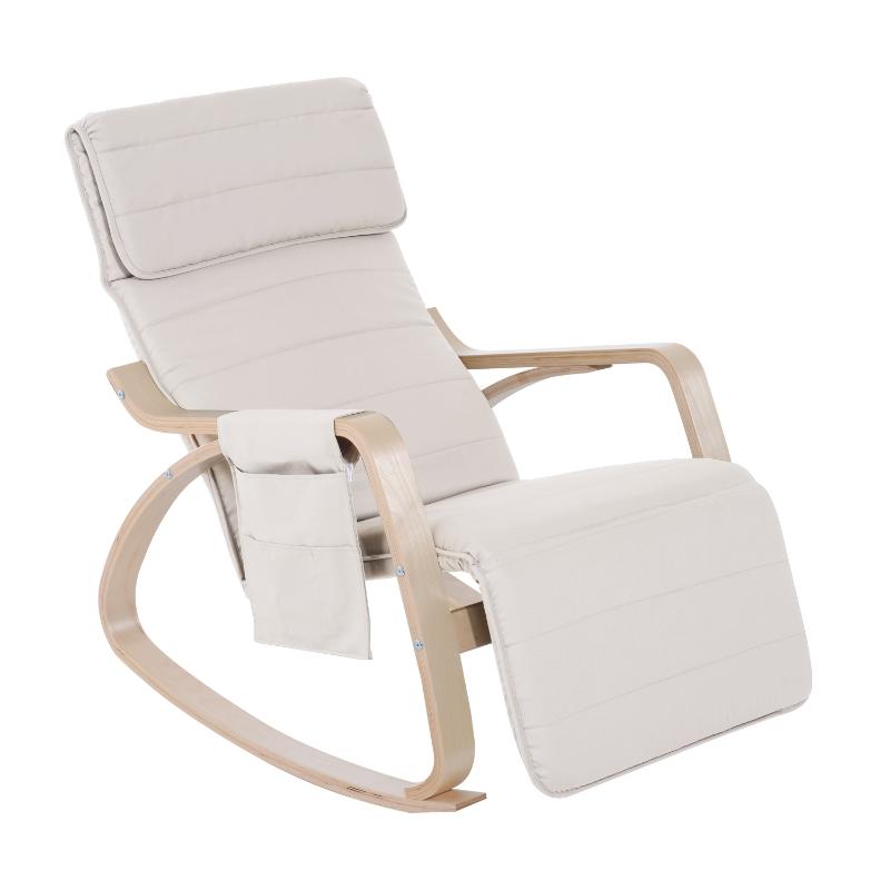 HOMCOM Rocking Chair W/Adjustable Footrest & Side Pocket-Beige