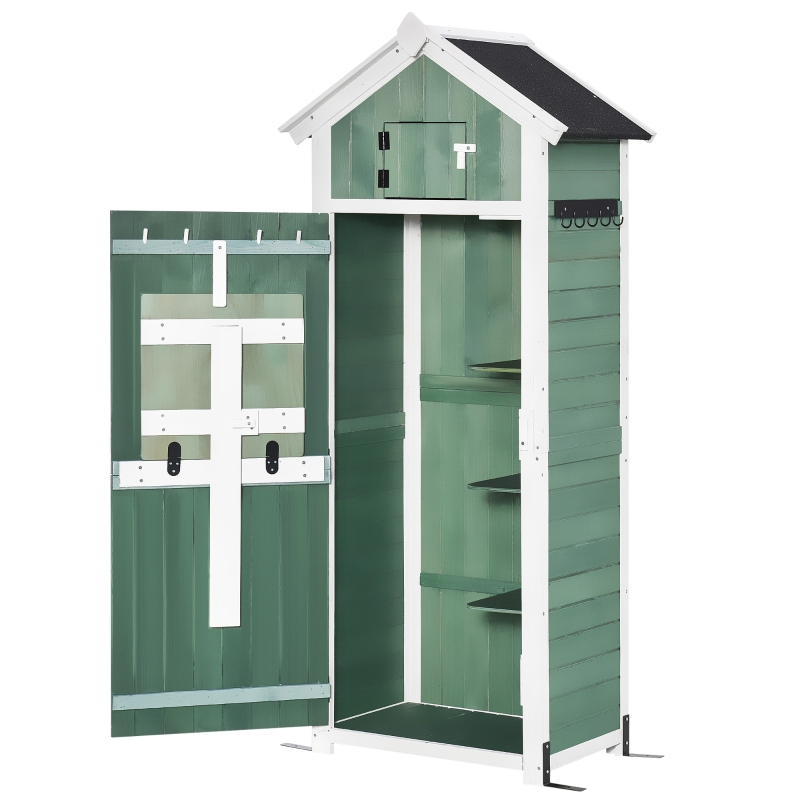 Outsunny Garden Wood Storage Shed with Workstation, Hooks, Asphalt Roof and Ground Nails