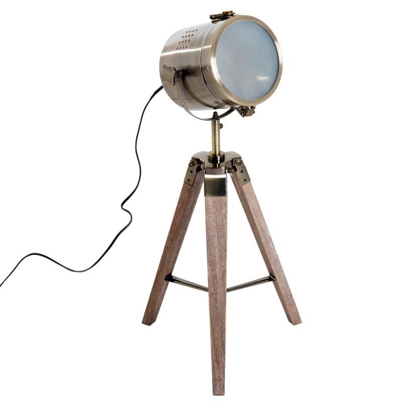 HOMCOM Vintage Tripod Floor Lamp, 33L, Adjustable Height-Wood/Bronze Colour