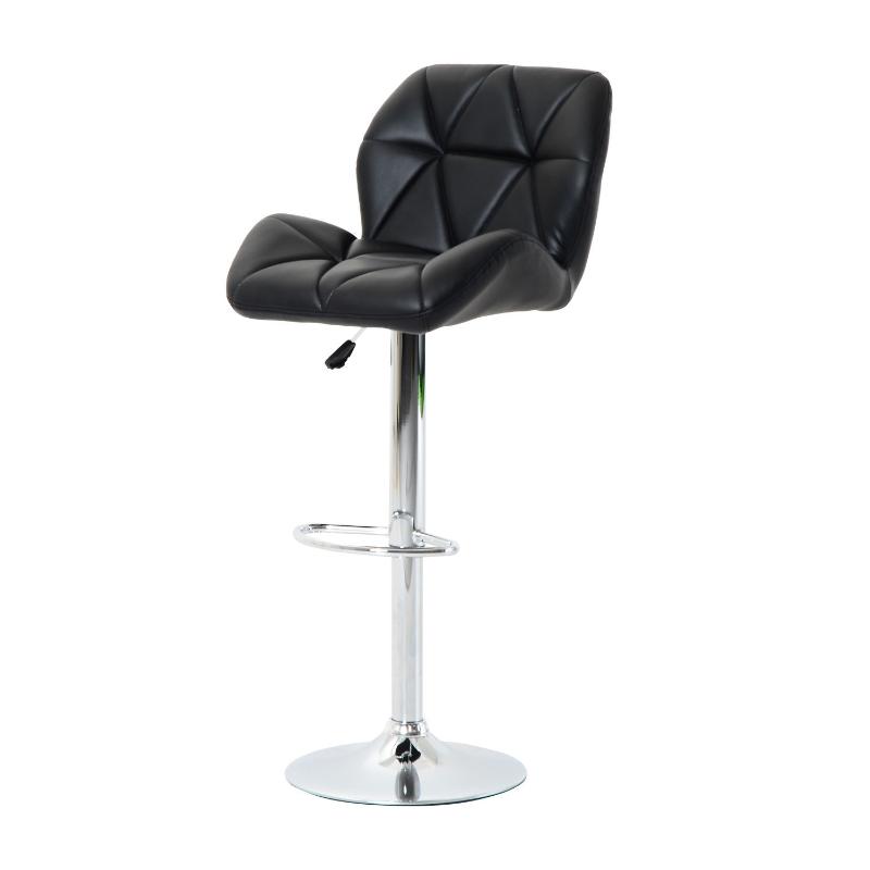 HOMCOM PU Leather Rhombus Design Barstool with Adjustable Height Black