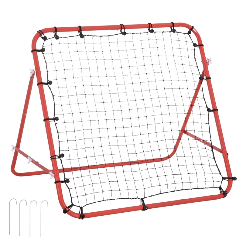 HOMCOM Rebounder Net W/PE mesh metal tube, 96W x 80D x 96Hcm- Red and Black