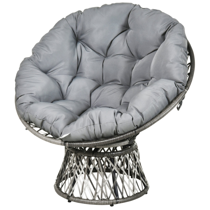Outsunny 360° Swivel Rattan Papasan Moon Bowl Chair Round Outdoor w/ Padded Cushion Oversized