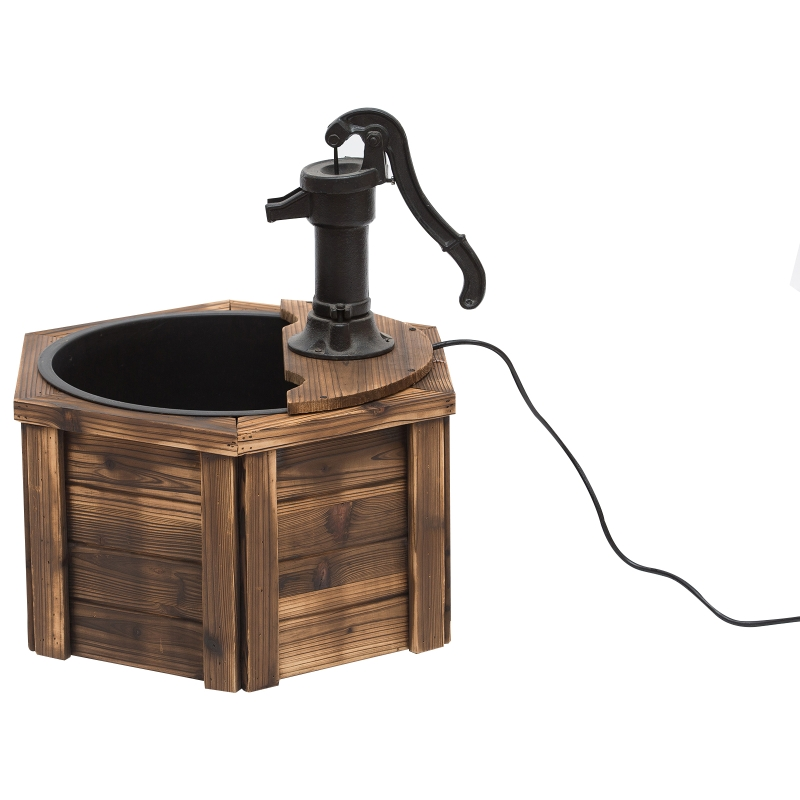 Outsunny Wooden Electric Water Fountain Garden Ornament w/ Hand Pump Plastic Well Vintage