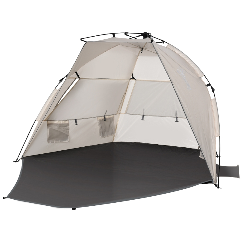 Outsunny Beach Tent for 1-2 Person Pop-up Design with 3 Mesh Windows & Carrying Bag Cream
