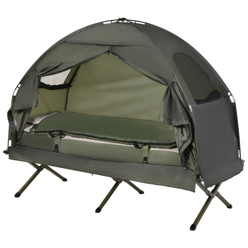 Outsunny 1-person Foldable Bag Tent W/ Sleeping Bag-Army Green
