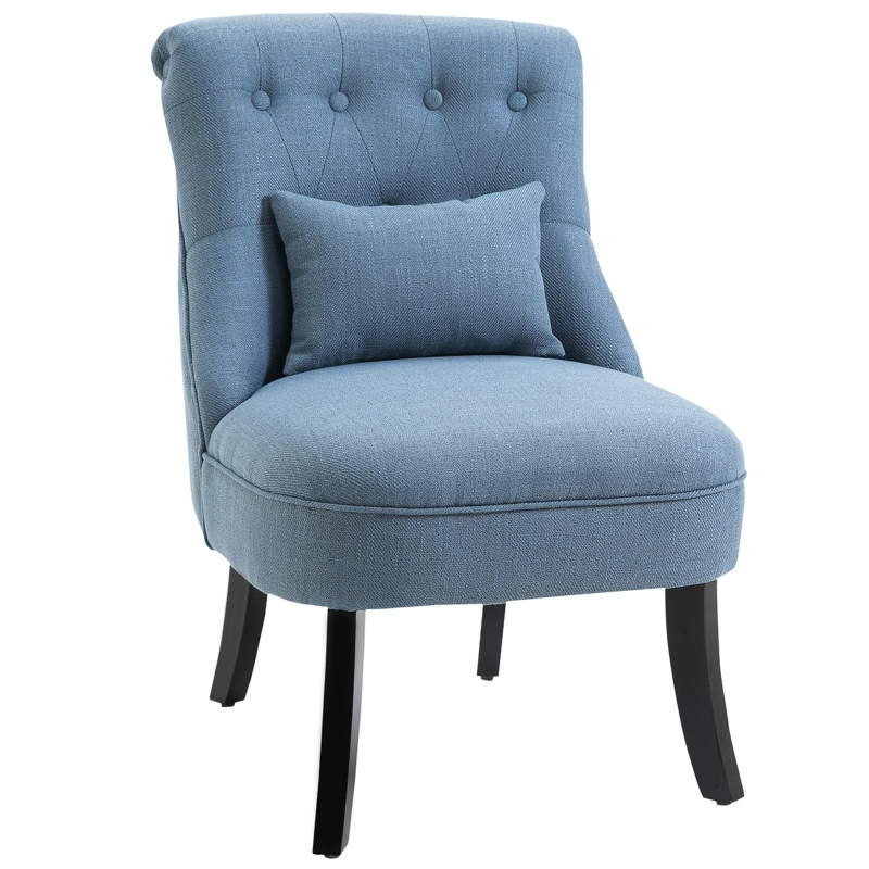 HOMCOM Solid Rubber Wood Tufted Single Sofa Chair w/ Pillow Blue